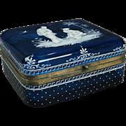 Antique Japanesque Aesthetic Enameled Blue Glass Bronze Handkerchief Box, c1870