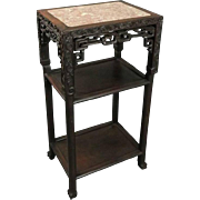 Antique Chinese Export Foliate Carved Rosewood & Marble Plant Stand, Late 19th C