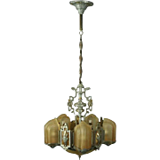 Antique French Art Deco Five-Light Slip Shade Chandelier with Amber, circa 1920