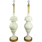 Pair Italian Carved Alabaster Lamps w/Acanthus Leaf Decor on Bronze Bases, 20th