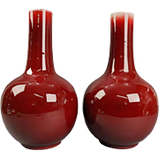 Antique Pr Chinese Oxblood Flambe Pottery Qianlong Tianqiuping Vases Late 19th C