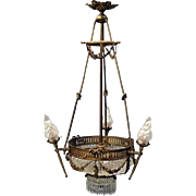 Antique French Louis XIV Bronze and Cut Crystal Six-Light Chandelier, circa 1890