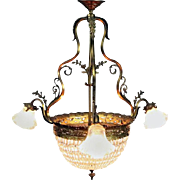 Antique French Louis XV Style Gilt Bronze and Cut Crystal Four-Light Chandelier