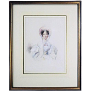 Antique English Watercolor of Mrs. Russell by G. Richmond, Dated 1834