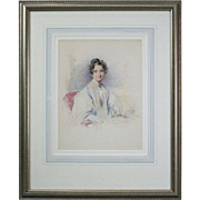 Antique English Watercolor of Mrs. Sandham by G. Richmond, Dated 1839