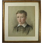 Antique English Pastel Portrait of Boy Attributed George Richmond
