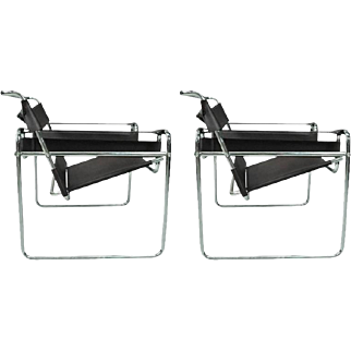 Pair of Mid-Century Modern Marcel Breuer Chrome Wassily Chair Frames, circa 1950