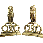 """""""Wisdom & Knowledge"""" Pair of Bronze Figural Sculptures, Owl and Serpents"""