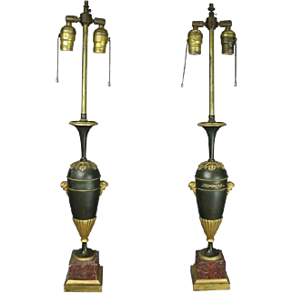 Pair of Antique Classical Parcel-Gilt Bronze Marble Lamp Bases, circa 1900