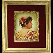 Antique Oil on Canvas Painting of Moorish Maiden Gilt & Velvet Frame, circa 1880
