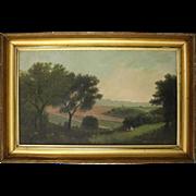 Antique Framed Folk Art Oil on Canvas of Landscape Scene, circa 1850