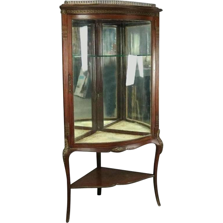 Antique French Style Horner Bros. Mahogany and Bronze Bowed Corner Cabinet - Antique French Style Horner Bros. Mahogany And Bronze Bowed Corner