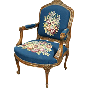 Antique French Hand-Carved Fruitwood Cabriolet Floral Tapestry Armchair