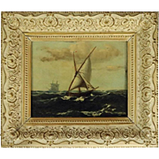 Antique Oil on Canvas Maritime Seascape Painting by A.J. Ohlsson, circa 1900