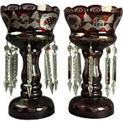 Antique Pair Bohemian Ruby Cut to Clear Mantel Lusters with Prisms, circa 1890