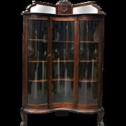 Antique R. J. Horner & Co. Caved Oak Serpentine Corner China Cabinet, circa 1910