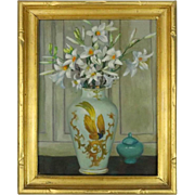 Antique Oil on Board Still Life of Daisies by Ethel Paxson, Signed, circa 1930