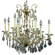 Twelve-Light Venetian Style Bronze and Cut Crystal Chandelier, circa 1940