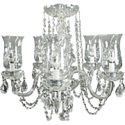 Vintage Cut Crystal and Etched French Style Five-Light Chandelier, circa 1950