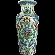 Vintage Turkish Hand-Painted Porcelain Vase Oversized Persian Design, circa 1970