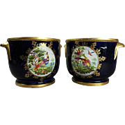 Pair of Fine Antique English Hand-Painted Chelsea School Porcelain Cache Pots