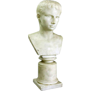 Classical Italian Carved Marble Bust of Young Caesar Augustus, circa 1870