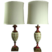 Pair of Antique Hand-Painted & Gilt Porcelain with Bronze Sèvres Urn Table Lamps