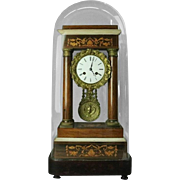 Antique French Empire Mahogany Marquetry and Bronze Portico Vincenti Clock