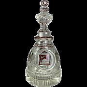 Antique English Bohemian Style Ruby Flash Cut Crystal Decanter, circa 1880