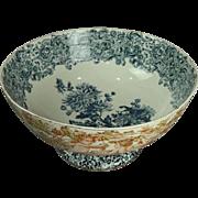 Antique English Maddocks Porcelain Transferware Punch Bowl, Cherubim, circa 1890
