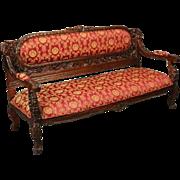 Vintage Heavily Carved Mahogany Karpen School Baroque Style Sofa, 20th Century