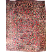 Antique Hand-Knotted Persian Sarouk Carpet, approx 12'x13', circa 1930