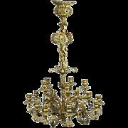 French Rococo Gilt Bronze Fifteen-Light Candelabra Chandelier, circa 1860