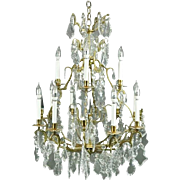 Oversized Antique Louis XV Style Bronze and Cut Crystal Chandelier, circa 1900