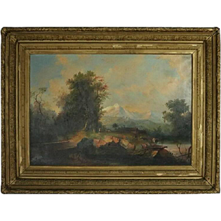 Antique Hudson River School Painting by C.G. Davidson, circa 1860