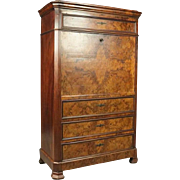 Antique Classical Biedermeier Burled Walnut Empire Abattant, circa 1840