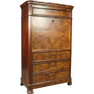 Antique Classical Burled Walnut Empire Abattant, circa 1840