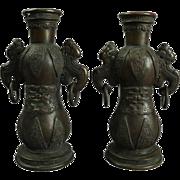 Pair of Antique Bronze Chinese Temple Vases, circa 1890