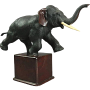 Antique Meiji Japanese Bronze Elephant Sculpture on Marble Base, circa 1890