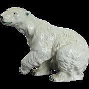 Large Antique Czechoslovakia Porcelain Royal Dux Polar Bear Sculpture