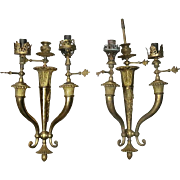 Pair of Antique French Neoclassical Style Brass Three-Light Gas Wall Sconces, c1870