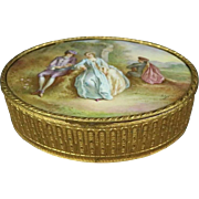 Oversized Antique French Sevres School Hand Painted Porcelain and Brass Box