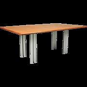 Mid-Century Modern Knoll Teakwood and Aluminum Dining Table, circa 1950