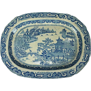 Antique English Herculaneum Chinoiserie Porcelain Serving Platter, circa 1840