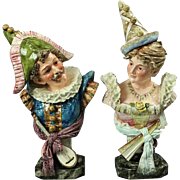 Pair of Antique Majolica Pottery busts, Old World Europe Courting Couple