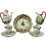 Seven pieces Antique Italian Porcelain Figural Capodimonte Tea Set, Poseidon