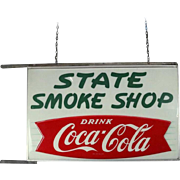 Vintage Coca-Cola State Smoke Shop Dbl-Sided Lighted Sign, circa 1960