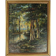Antique Hudson River School Oil on Canvas Painting, Forest with River Scene