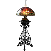Arts & Crafts Bradley Hubbard Style Leaded Glass and Iron Table Lamp, circa 1910
