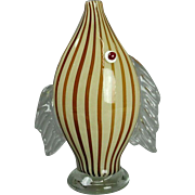 Mid-Century Modern Murano Mouth Blown Art Glass Fish Sculpture Bud Vase